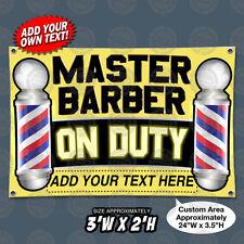 3'x2' *Custom* Master Barber On Duty Poles Open Sign Banner Barbershop Salon