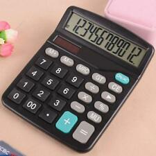 Desktop Table Office 12-Digit Sola Battery Powered Calculator Statistics Tool US
