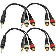 """4 Pack Male 1/8"""" (3.5mm) to Female RCA Patch Cable Adapter Cord for iPhone, iPod"""