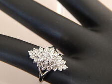 1.0 tcw Diamond Cluster Cocktail Ring 14k WG F/VS Designer Lots of Sparkle Shine