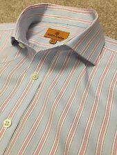 GORGEOUS SIMON CARTER BABY BLUE PINK STRIPE DOUBLE CUFF SHIRT 15.5 COST £80