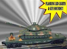Lionel Mth Menards Us Army Flatcar W/Army Tank Has Sound & Flashing Guns