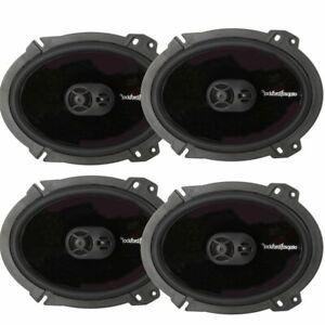 "4) Rockford Fosgate P1683 6x8"" 260W 3-Way Car Coaxial Speakers Audio Bundle"