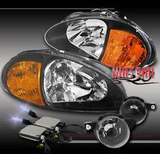 93 94 95 HONDA DEL SOL CRYSTAL BLACK HEAD LIGHT+AMBER CORNER+DRIVING FOG+10K HID