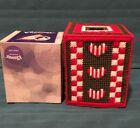 Handmade Needlepoint Plastic Canvas Tissue Box Cover -Valentine cover