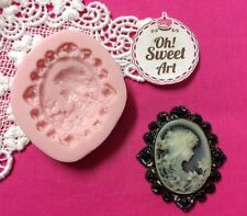 Lady Brooch Cameo silicone mold fondant cake decorating cupcake food soap FDA