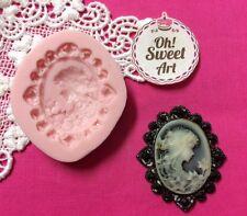 Lady Brooch Cameo silicone mold fondant cake decorating cupcake food soap FDA
