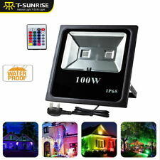 RGB 100W LED Floodlight w Remote Control Color Changing Garden Security Light UK