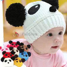 New Cute Baby Boys Girls Kid Panda Soft Knit Crochet Hat Winter Warm Beanie
