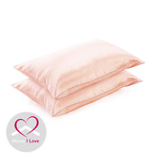 100%Mulberry Silk Set of 2 Pink Pillowcases 19 mm Anti Ageing Healthy Skin&Hair