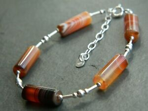 Natural Banded Agate Gemstone Tubes & 925 Sterling Silver Handmade Bracelet