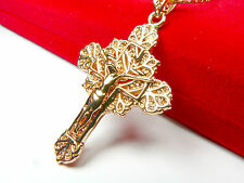 18ct real gold GF Crucifix necklace