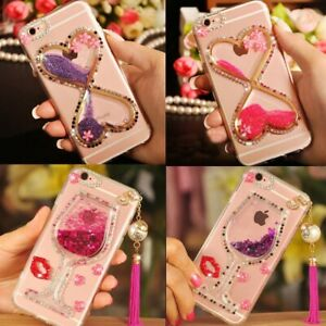 Girls Rhinestones Glitter Dynamic Quicksand Phone Case Cover for iPhone 6/7/8/X