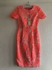 UK 8  NEW TOPSHOP NEON CORAL/WHITE DRESS PARTY/TOWIE/CELEB/KYLIE/GLAM  RRP £78