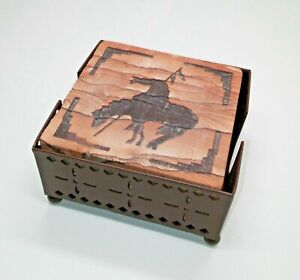 Thirstystone Natural Sandstone Coasters Set of 4 Western Style horse Indian