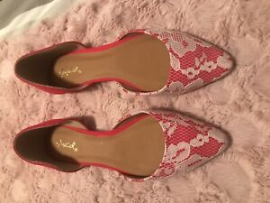 Womens Red/White Lace Shoes Size 37