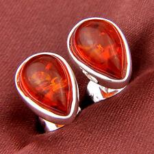 Novel Woman Jewelry Gift Teardrop Cognac Amber Gemstone Silver Stud Earrings New