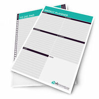 2 x Monster Stationery - A4 Weekly Schedule Planner / Desk Pad - Made in UK