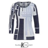 Luisa Cerano Blue Pattern Top Size 42 Ladies UK Size 16 Box45 21 O