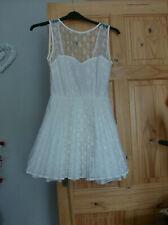 Jones+Jones Ladies Cream Pleated Fit and Flare Dress UK Size 8 Good Condition