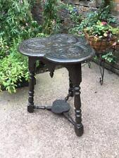VINTAGE EBONISED CARVED SHAMROCK DESIGN SIDE HALL TABLE