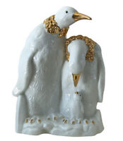"White and Gold Color Vintage Ceramic Penguin Family 8 1/2"" Tall"