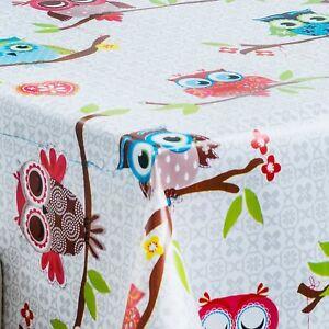Luxury Plain Grey Damask Owls Pvc Vinyl Table Cloth Wipe Clean Patchwork Buttons