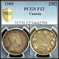 1909 Silver Canada 25 Cents PCGS F12 Fine Quarter Dollar 25c Classic Coin