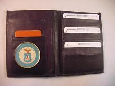 CAP CIVIL AIR PATROL BLACK LEATHER BIFOLD PASSPORT WALLET CARD HOLDER