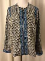 NWT Chico's Blue Tweed Contrast Print Jacket Size 3 (16/XL) Full Zip Raw Edge