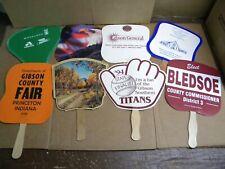 Vintage Lot of 8 Paper Hand Fans sports, politics, religious, patriotic Indiana