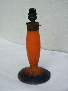 Ancien pied de lampe art déco ou nouveau 1930 en pâte de verre orange et bleue