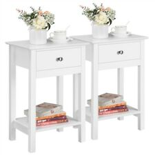 More details for 2pcs bedside table wooden nightstand bedside cabinet with shelf & drawer, white