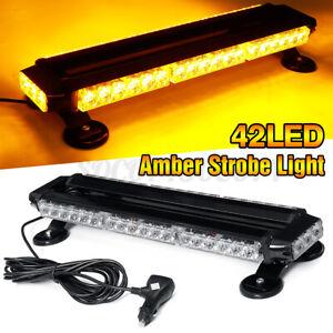 """21"""" 42LED Emergency Traffic Advisor Double Side Warning Strobe Light Bar Amber"""