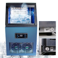 110Lbs Auto Commercial Ice Cube Maker Machine Stainless Steel Bar 110V Canada