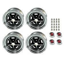 Magnum 500 Wheels Kit With Red Ford Crest Caps And Lug Nuts 15 X 7 Fits Mustang