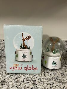 Vintage Caribou Coffee 2007 Snow Globe Rule Your Yule Reindeer Musical Collector