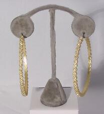 With Genuine Austrian Crystal #210-A/23 Gold 2.5 Inch Hoop Earrings