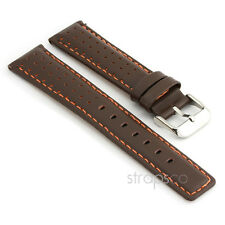 StrapsCo Perforated Leather Rally Racing Watch Strap Mens Band