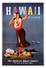 VINTAGE TRAVEL ART PRINT - HAWAII by CLIPPER PAN AM 38x26 Hula Girl Poster