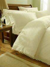 Cream Embroidered Super King Duvet Cover / Bed Sets - Luxury Percale Bed Linen