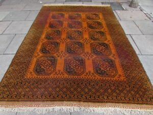 Vintage Hand Made Traditional Golden Afghan Oriental Wool Gold Carpet 300x210cm