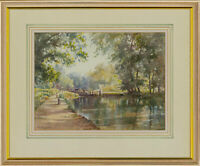Albert Houghton FRSA - 20th Century Watercolour, Lock on the Wey