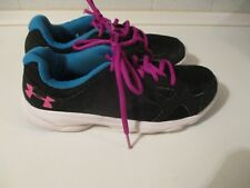 Under Armour Ladies Size 5 Black Trainers Jade Purple Trim Lace Up Lightweight