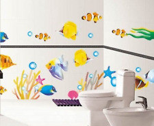 DecoBay Fish Bathroom Stickers/Childrens Room Wall Stickers - Adhesive Removable