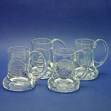 "Four Handmade Dartington Crystal Tankards (1970s) by Frank Thrower - 5"" High"