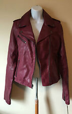 Wilsons Leather Berry Rivet Asymmetrical Leather Cycle Jacket #WWBM2270 $750 Med