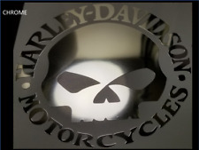 2 x 92mm CHROME * Willie G  HARLEY DAVIDSON style Tank SKULL decal sticker