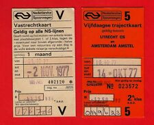 NS Nederlandse Spoorwegen ~ 2 Tickets: Five Day Season & 50% Discount Card: 1977