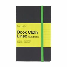 Luna - Medium Lined Cloth Notebook, Grey Cover - Green, New
